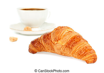 croissant and coffee - Fresh tasty croissant and cup of...