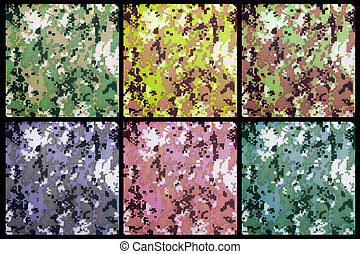digital camouflage as background or pattern - set of exotic...