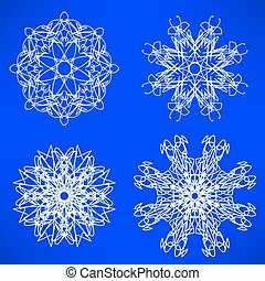 Snow Flakes - Set of Snow Flakes Isolated on Blue Background