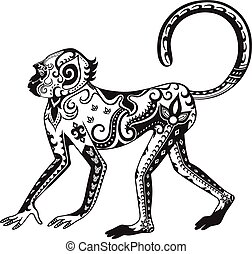 Ethnic ornamented monkey - The stylized figure of an monkey...