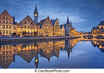 Ghent. - Image of Ghent, Belgium during twilight blue hour.