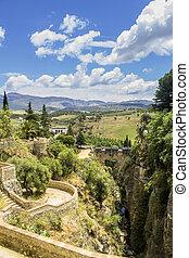 Ronda, view over Puente Viejo, old bridge. Spain - Puente...