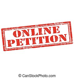 Online Petition - Grunge rubber stamp with text Online...