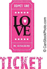 a pink and black love ticket