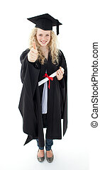 Teenage Girl Celebrating Graduation with thumbs up