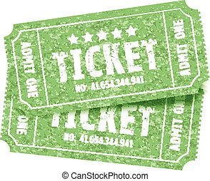 a set of two green tickets