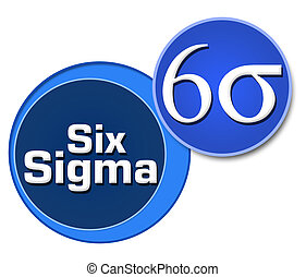 Six Sigma Two Blue Circles - Six Sigma symbol and text over...