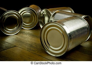 Tin cans for food on wooden backgro - Tin cans on wooden...