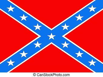 Confederate Flag - 2D illustration of a American Confederate...