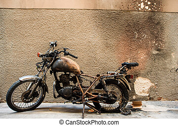 burnt out motorcycle
