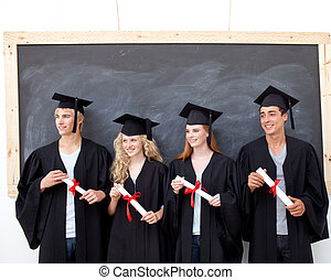 Group of people celebrating after Graduation - Happy group...