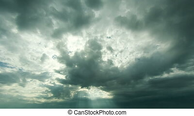 Clouds in the sky Timelapse - Rainy dark and white clouds in...