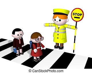 Crossing - 3D illustration of a lollipop Lady guiding two...
