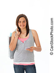Beautiful teenager with holding shopping bags and a credit...