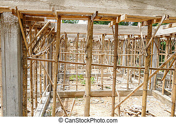 the building structure during construction - the scaffold...