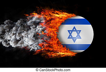 Flag with a trail of fire and smoke - Israel - Concept of...