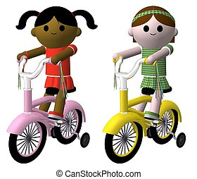 Girls on bikes - Illustration of two girls riding bikes