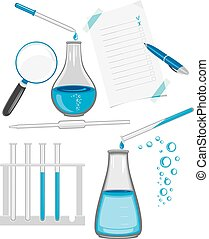 Chemical laboratory glassware. Vector illustration