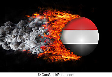 Flag with a trail of fire and smoke - Yemen - Concept of...