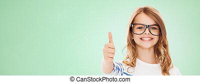 little girl with black eyeglasses - education, school,...
