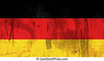 german flag - Illustration of an old and dirty Alemania flag