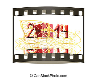 Abstract 3d illustration of text 2014 with present box on a gold sledge on a white background. The film strip