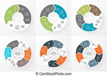 Vector circle arrows infographics set. Template for cycle...