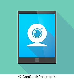 Tablet pc icon with a web cam
