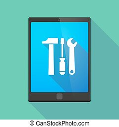 Tablet pc icon with a tool set