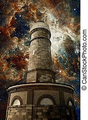 Lighthouse and the Tarantula Nebula background (Elements of...