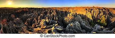 Tsingy sunset panorama - Beautiful HDR panorama of the...