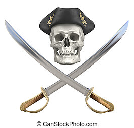 Jolly Roger - Pirate crossed sabers and skull with a tricorn...