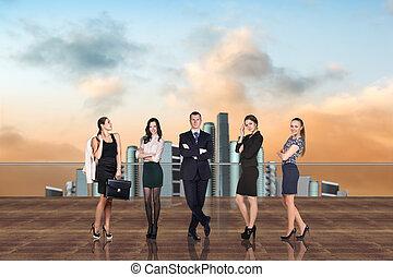 ビジネス, 屋根, 人々