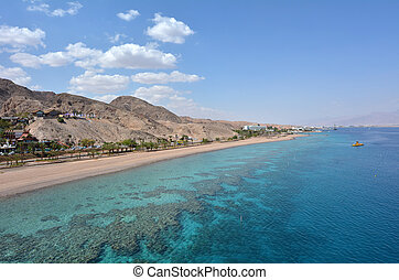 Aerial seascape of Coral Beach Nature Reserve in Eilat,...