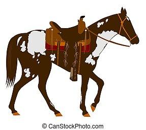 horse with saddle - western paint horse with elegant saddle...