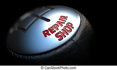 Repair Shop on Black Gear Shifter - Repair Shop - Red Text...