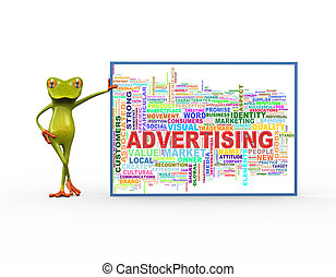 3d frog with advertising wordcloud