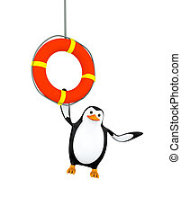 3d penguin hanging on life preserver lifebuoy ring - 3d...