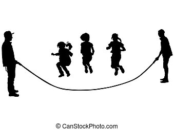Little girl - Silhouettes of a little girl in a dress on a...