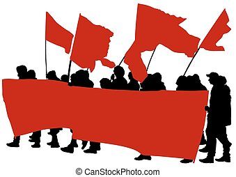 Picket - People of anarchia with large flags on white...