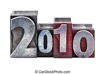2010 in letterpress - The numbers or date 2010 in old worn...