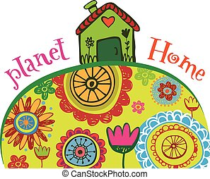 Planet home banner - Planet home, ecology concept of Earth...