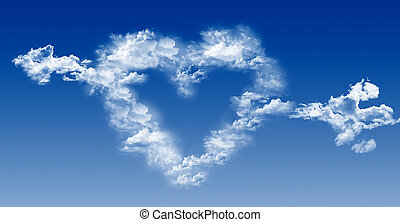 Heart and arrow out of the clouds on blue sky - Heart and...
