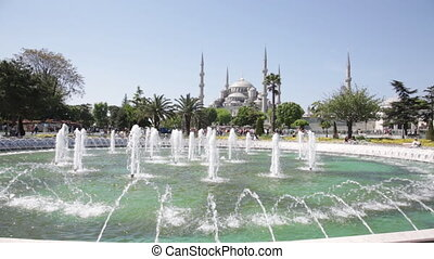 fountain on Sultan Ahmet square in front of the Blue mosque in Istanbul