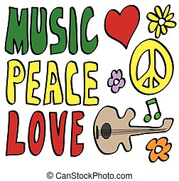 doodle Peace, Love and Music, vector icon