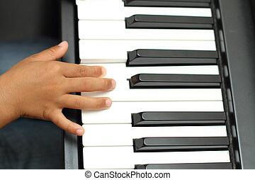 japonés, niño, juego, Un, piano,