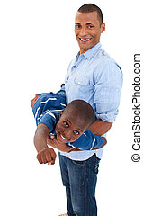 Father playing with his son against white background