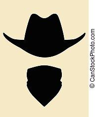 Bandit - Cowboy hat and bandanna covering face symbol
