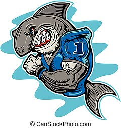 shark football player - mean shark football mascot
