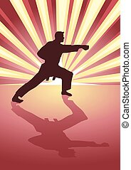 Karate Light Burst - Silhouette illustration of martial...